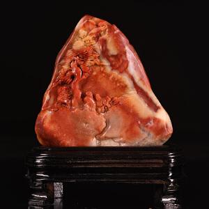 《指日高升山水摆件》蜡烛红寿山石取巧全手工精雕寓意吉祥