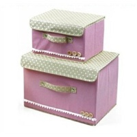 AITA 日式扣扣收纳箱 衣物整理箱 储物箱 粉色大号小号2件套