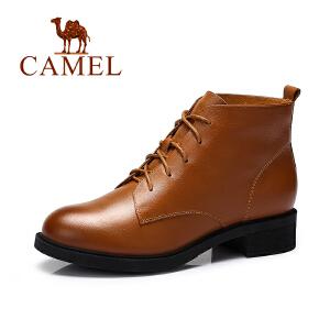 Camel/骆驼女鞋  新品欧美风低跟马丁靴复古圆头系带女靴