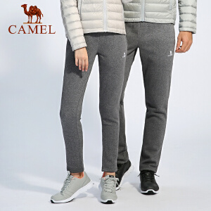camel骆驼户外情侣款运动裤 防风保暖男女款针织运动裤