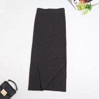 焦糖色针织毛线一步裙半身裙加厚冬季中长款高腰开叉包臀裙打底裙 S 80-99斤