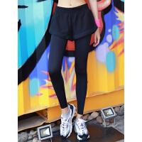 假两件跑步速干健身裤 打底瑜伽运动裤 弹力训练紧身裤女外穿夏薄