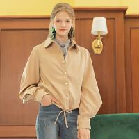 Lagogo/拉谷谷2019秋季新款单排扣灯笼袖系带短外套女ICWW537A44