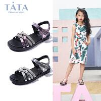 【159元任选2双】他她TATA女童凉鞋夏季公主鞋中大童小孩鞋儿童凉鞋沙滩鞋防滑