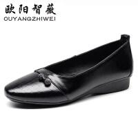 2019春秋妈妈鞋软底舒适单鞋中年女鞋平底休闲中老年女鞋