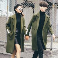 秋冬毛呢中长款风衣女情侣装韩国潮流青少年英伦呢料过膝大衣外套