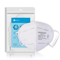 格林特卫(Greencare) 防雾霾口罩(6只装)防尘防菌防KN95防流感粉尘折叠耳戴式-不带呼吸阀