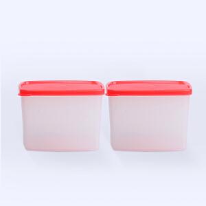 特百惠800ML方形果菜冷藏保鲜盒 防潮密封零食盒正品2件套