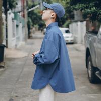 衬衫男学生春秋季基础纯色百搭衬衫男士韩版青年宽松长袖衬衣潮休闲衣服外套