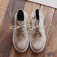 欧美复古绒面圆头系带短靴秋季手工舒适软底百搭女靴休闲马丁靴女 卡其 单里