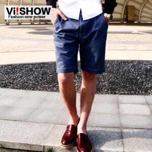 viishow裤子夏季新品 潮流时尚修身纯色休闲男士短裤