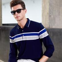青年长袖t恤男薄款衬衣领拼接撞色polo衫男长袖潮流秋季