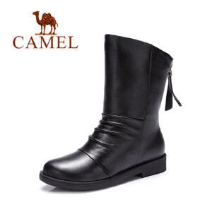 camel骆驼女靴 休闲舒适中跟圆头后拉链 中筒靴 冬季新款