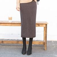 加绒加厚半身裙包臀裙长裙高腰显瘦弹力开叉一步裙百搭保暖冬裙子 均码