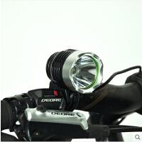 LED强光T6自行车灯前灯 充电山地车灯头灯夜骑行装备单车配件