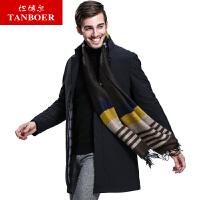 坦博尔冬季商务休闲中长款男士羽绒服立领新款修身加厚外套TA3655