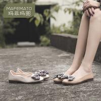 玛菲玛图2020秋季新款单鞋蝴蝶结浅口圆头鞋平底百搭奶奶鞋女2890-5