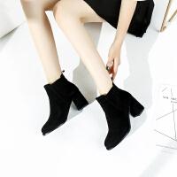 【气质高跟】新品冬靴粗跟百搭增高舒适短筒时尚套脚时装