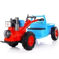 儿童手扶拖拉机电动玩具车可坐人带斗双驱小孩宝宝汽车四轮大号