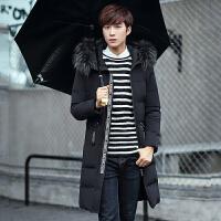 冬季加厚连帽中款棉衣男简约外套韩版修身中长款大毛领羽绒棉服潮