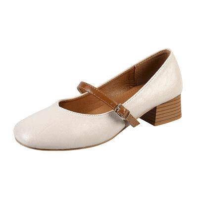 复古奶奶鞋粗跟女2019年春秋款一字带扣单鞋中跟小码玛丽珍鞋大码