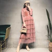 洋气秋装长款吊带长裙套装秋冬孕妇连衣裙显瘦丝绒拼接蛋糕裙