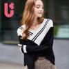 UGOCCAM2017秋装新款女装韩版宽松大码拼色套头V领长袖针织衫上衣