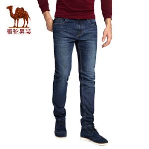 骆驼男装 2017秋季新款简约休闲男士牛仔裤标准版直脚男长裤子