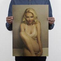 斯佳丽约翰逊/怀旧/牛皮纸海报/酒吧客厅装饰画51x35.5cm