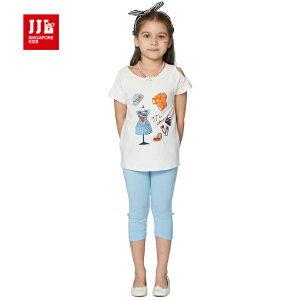 jjlkids季季乐童装女童夏季休闲百搭透气儿童套装中小童薄款
