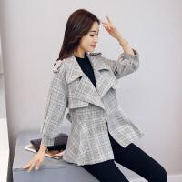 裙摆式短款风衣女装鹿皮绒格子短外套修身2017新款秋装韩版上衣潮