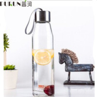 550ML耐热玻璃水瓶创意车载玻璃杯子矿泉水瓶带盖茶杯 5色炫彩杯套