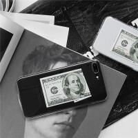 欧美金钱插画透明苹果X手机壳iphone7plus/8/6S软壳女款
