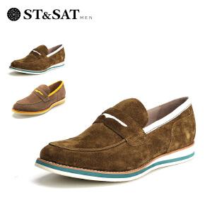 【星期六集团大牌日】星期六男鞋(ST&SAT)牛皮革方跟套脚型格浅口单鞋SS51123605 橄榄绿
