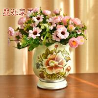 墨菲欧式仿真花艺套装 摆件陶瓷客厅现代简约创意装饰干花插花瓶