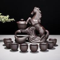 紫砂马到成功石磨陶瓷家用茶壶茶杯简约懒人半全自动茶具套装