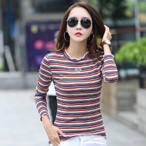 2017秋季新款韩范弹力条纹长袖T恤女装修身显瘦木耳边长袖打底衫
