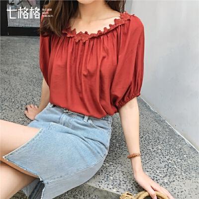 七格格雪纺上衣女短袖2019新款夏季心机设计感灯笼袖很仙的蕾丝衫