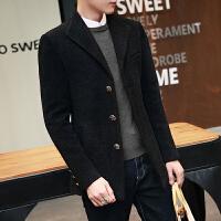 秋冬季风衣男士修身短款呢子外套男韩版帅气大衣男装毛呢加厚潮流