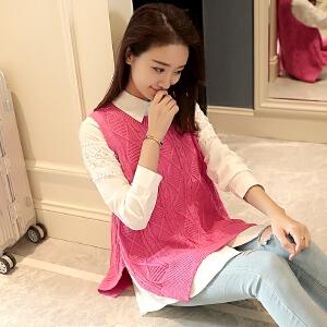 秋冬时尚女装新款韩版显瘦潮流百搭马甲套头背心针织衫毛衣外套潮