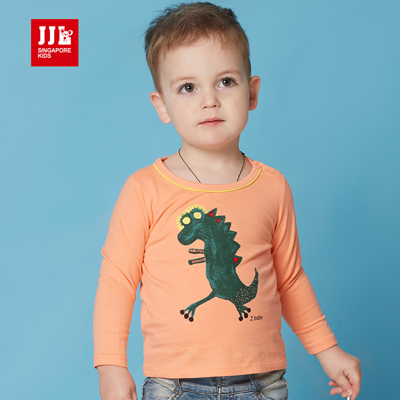 jjlkids季季乐童装春秋季男童T恤可爱舒适打底衫小童长袖圆领T恤PBCT61043