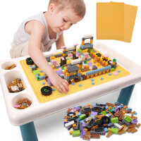 儿童积木桌子积木拼装玩具男孩女孩玩具多功能学习桌椅 多功能积木桌