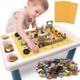 【每满100减50】儿童积木桌子积木拼装玩具男孩女孩玩具多功能学习桌椅 多功能积木桌