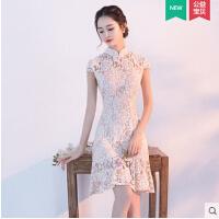 新款日常旗袍 时尚甜美蕾丝少女连衣裙改良版学生短款