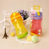 日康防漏宝宝吸管杯 喝水杯婴幼儿童学饮训练杯 大容量 带肩带