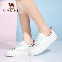 camel骆驼女鞋 学院简约时尚 百搭运动单鞋  圆头系带低跟小白鞋