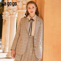 Lagogo拉谷谷2020春季新款翻驳领单排扣轻熟风西装显瘦格子外套女