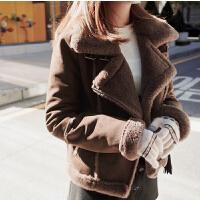 鹿皮绒风衣外套女短款羊羔毛机车外套冬加厚毛绒韩版学生修身夹克