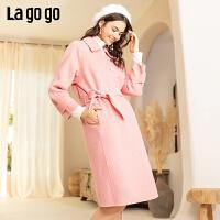 Lagogo2019年冬季纯色淑女束腰中长款毛呢大衣双面呢外套ICDD239G44