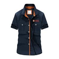 夏装afsjeep战地吉普新款纯棉半袖衬衫 1758男士尖领大码短袖衬衣